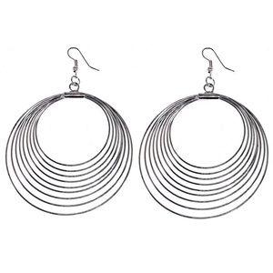 Large Silver Tone Circle Earrings